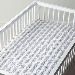 Organic Safari Zebra Fitted Crib Sheet + Reviews | Crate and Barrel | Crate & Barrel