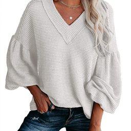 Womens Casual Waffle Knit Shirts Tunic Tops Oversized Sherr V Neck Balloon Sleeve Sweaters Sheer ... | Amazon (US)