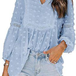 Sidefeel Womens V Neck Solid Color Short Sleeve Chiffon Swiss Dot Tunic Shirt | Amazon (US)