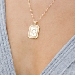 Unique And Chic Gold Tag Initial Necklace | The Pink Lily Boutique