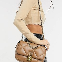 Steve Madden Terra quilted cross body bag with chain in camel | ASOS (Global)