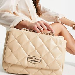 River Island faux leather quilted chain shoulder bag in beige | ASOS (Global)