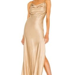 Weekend Stories Gabrielle Midi Dress in Champagne & Black from Revolve.com | Revolve Clothing (Global)