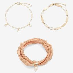3 Piece Ribbon & Chain Bracelet Set | Express