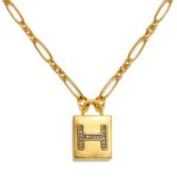 """H"" Padlock Initial Necklace | Sequin | Sequin"