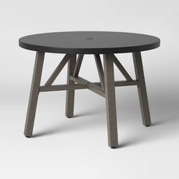 Faux Concrete & Wood 4 Person Round Patio Dining Table - Smith & Hawken™   Target