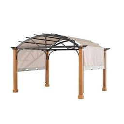 Hampton Bay 10 ft. x 12 ft. Longford Wood Outdoor Patio Pergola with Sling Canopy-A106003600 - Th...   The Home Depot