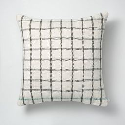 """24"""" x 24"""" Windowpane Plaid Indoor/Outdoor Throw Pillow Gray/Teal/Cream - Hearth & Hand™ with Ma...   Target"""