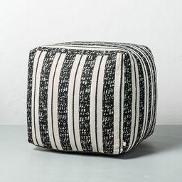 Bold Stripe Outdoor Ottoman Pouf Black/White - Hearth & Hand™ with Magnolia   Target
