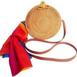 Zinuo Round Woven Ata Rattan Bag Summer Beach Shoulder Bag for Women | Amazon (US)