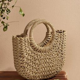 Woven Satchel Bag With Ring Handle | SHEIN
