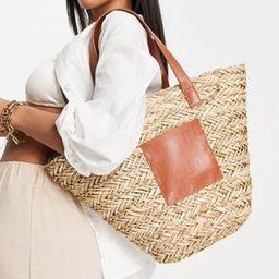 ASOS DESIGN vase tote bag in straw with monogram panel | ASOS (Global)
