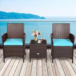 Costway 3PCS Patio Rattan Furniture Set Cushioned Sofa Glass Tabletop Deck Red\Blue   Target