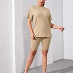 SHEIN Solid Round Neck Top & Biker Shorts Set | SHEIN