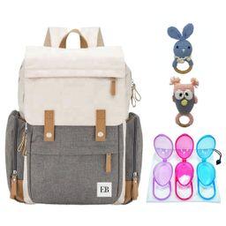 Baby Diaper Bag Backpack | Pacifier Holder Case | 2 Baby Teether Rattle Combo | EliteBaby