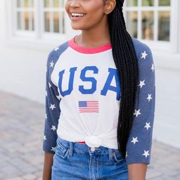 Athletic USA Flag Raglan Graphic Tee | The Pink Lily Boutique