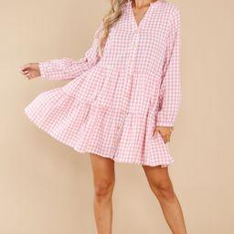 Lift Your Spirits Blush Pink Gingham Dress | Red Dress