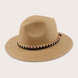 Chain Band Decor Straw Hat | SHEIN