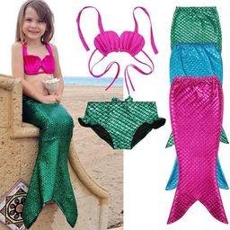 3PCS Girl Kids Mermaid Tail Swimmable Bikini Set Bathing Suit Fancy Costume 3-9Year | Walmart (US)