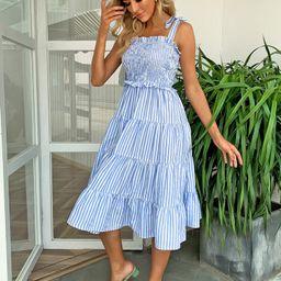 Joyfunear Knotted Shoulder Shirred Striped Cami Dress | SHEIN