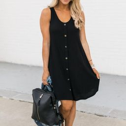 Heartfelt Notes Button Black Ribbed Tank Dress | The Pink Lily Boutique