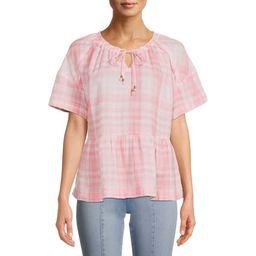 Time and Tru Women's Short Sleeve Double Cloth Peplum Top | Walmart (US)