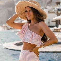 CAITLIN COVINGTON X PINK LILY The Bermuda One Shoulder Striped Blush Ruffle Bikini Top | The Pink Lily Boutique