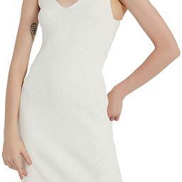 RZIV Women's Sleeveless Sweater Dress Knit Slim V Neck Bodycon Midi Stretchable Elasticity Slim F... | Amazon (US)