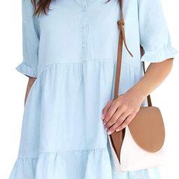 ROYLAMP Women's Summer Tunic Dress Puff Sleeve Ruffle Hem Button Down Casual Collared Shift Dress...   Amazon (US)