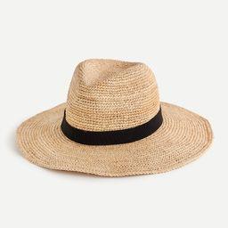 Wide-brim packable straw hat | J.Crew US