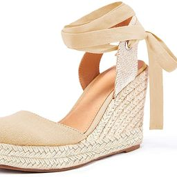 Womens Espadrille Wedge Sandals Closed Toe Platform Lace Up Ankle Wrap Slingback Sandals   Amazon (US)