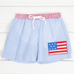 Flag Boy Swim Trunk Blue Gingham | Smocked Auctions