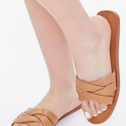Faux Leather Crisscross Flat Sandals   Forever 21 (US)
