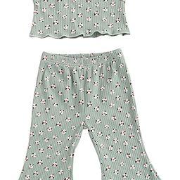 Toddler Baby Girls Sleeveless suspenderT-Shirt Floral Printing Flare Pants Summer Clothes Set | Amazon (US)
