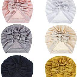 Bestjybt 6 Pcs Baby Turban Knot Hats Newborn Infant Toddler Hospital Hat Cotton Head Wrap | Amazon (US)