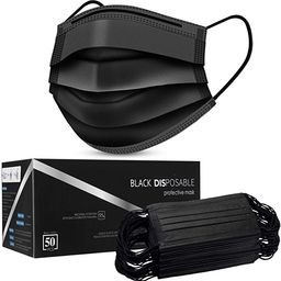 Black Disposable Face Masks, Face Masks 3 Ply Disposable Mask | Amazon (US)