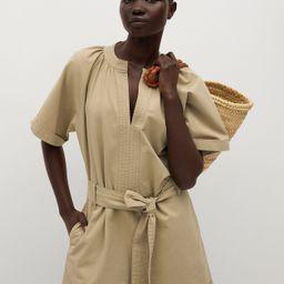 Belted cotton jumpsuit   MANGO (US)