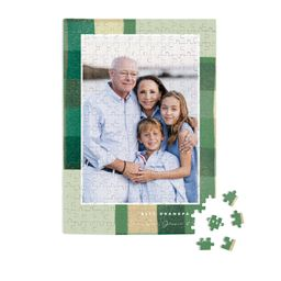 """""""Warm Flannel"""" - Customizable 252 Piece Custom Puzzle in Green by Keen Peachy.   Minted"""