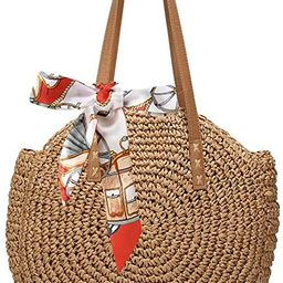 Women's Straw Handbags Large Summer Beach Tote Woven Round Pompom Handle Purse Shoulder Bag Vocat... | Amazon (US)