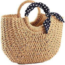 YXILEE Summer Beach bag,Handmade Large Straw Tote Bag Womens Handbag (Khaki) | Amazon (US)