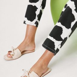 Faux Leather Open Toe Tie Flat Sandals | NastyGal