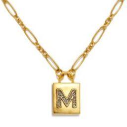 """M"" Padlock Initial Necklace | Sequin | Sequin"