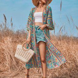 Floral Open Front Longline Kimono | SHEIN