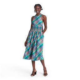 Plaid Sleeveless Bow Back Halter Dress - Christopher John Rogers for Target Blue   Target