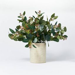 "20"" x 18"" Seeded Eucalyptus and Pod Plant Arrangement in Ceramic Vase - Threshold™ designed wit... | Target"