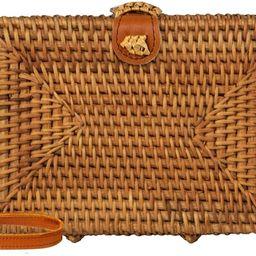 Ata Rattan Crossbody Bags with Genuine Leather | Woven Wicker Straw Purses (Square Bag) | Amazon (US)