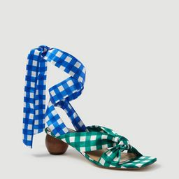 Lizzette Gingham Wrap Wood Heel Sandals | Ann Taylor (US)