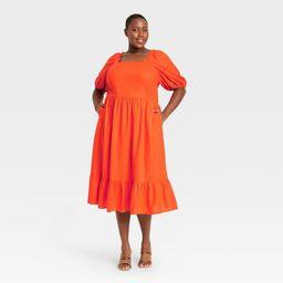 Women's Plus Size Puff Elbow Sleeve Open Back Dress- Who What Wear Orange 4X | Target