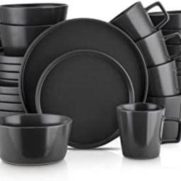 Stone Lain Coupe Dinnerware Set, Service For 8, Black Matte   Amazon (US)