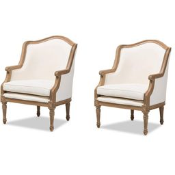 Baxton Studio Charlemagne Traditional French Accent Chair, Oak (Set of 2)   Walmart (US)